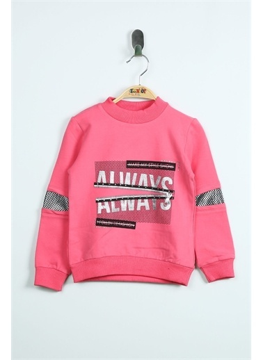 Toontoy Toontoy 110Cm Boy Always Varak Baskılı Kız Çocuk Sweatshirt Fuşya